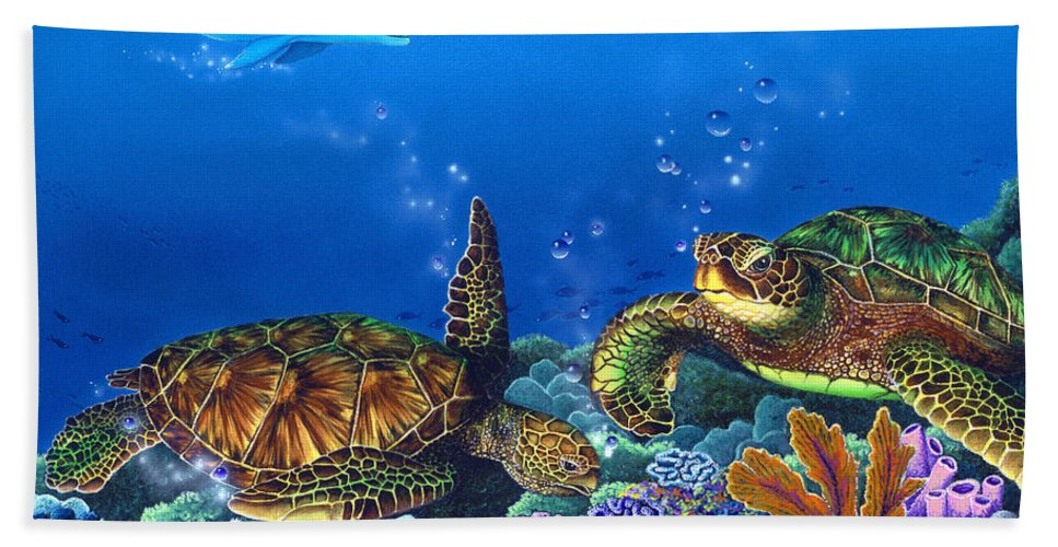 Turtles Bath Sheet featuring the painting Lunchtime by Angie Hamlin