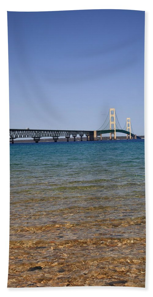 America Hand Towel featuring the photograph Mackinac Bridge by Frank Romeo