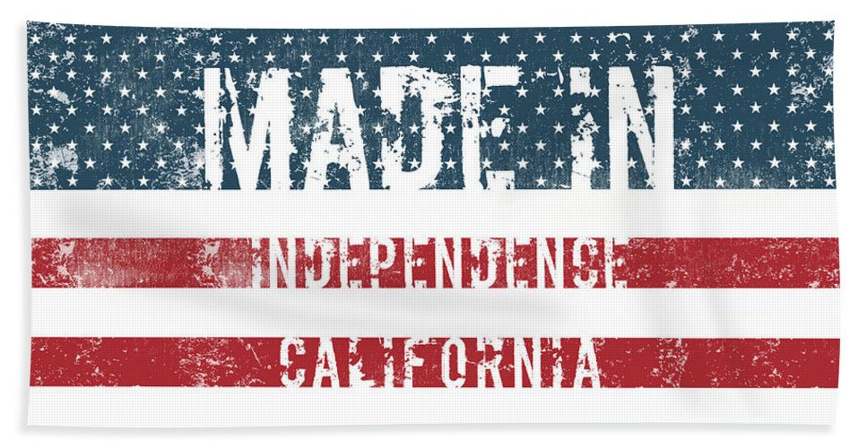 Independence Bath Sheet featuring the digital art Made In Independence, California by Tinto Designs