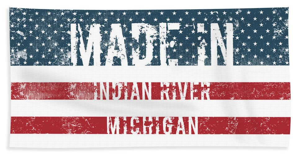 Indian River Bath Sheet featuring the digital art Made In Indian River, Michigan by GoSeeOnline