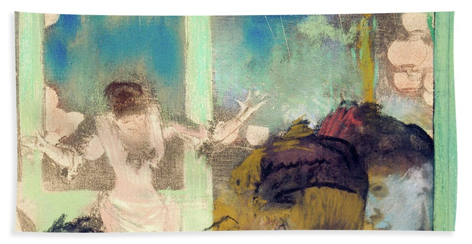 Cafe Hand Towel featuring the painting Mademoiselle Becat At The Cafe Des Ambassadeurs by Edgar Degas