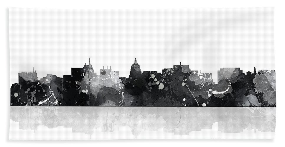 Madison Wisconsin Skyline Bath Sheet featuring the digital art Madison Wisconsin Skyline by Marlene Watson