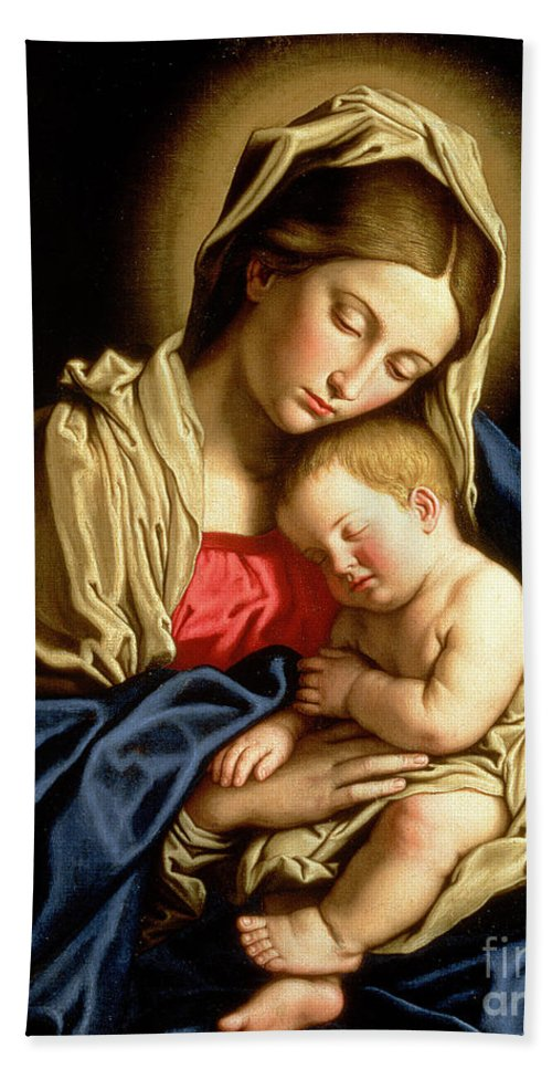 Mary Hand Towel featuring the painting Madonna And Child by Il Sassoferrato