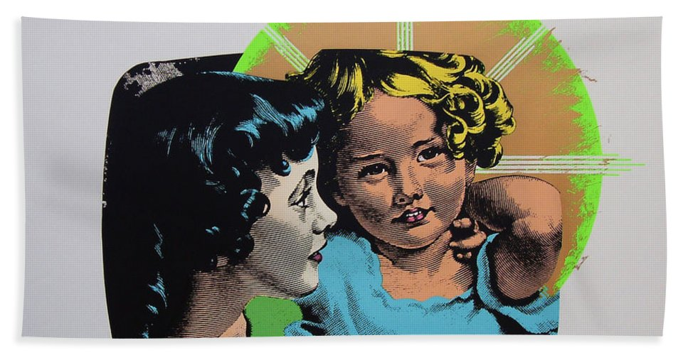 Madonna And Child Hand Towel featuring the mixed media Madonna De Milo by Charles Stuart