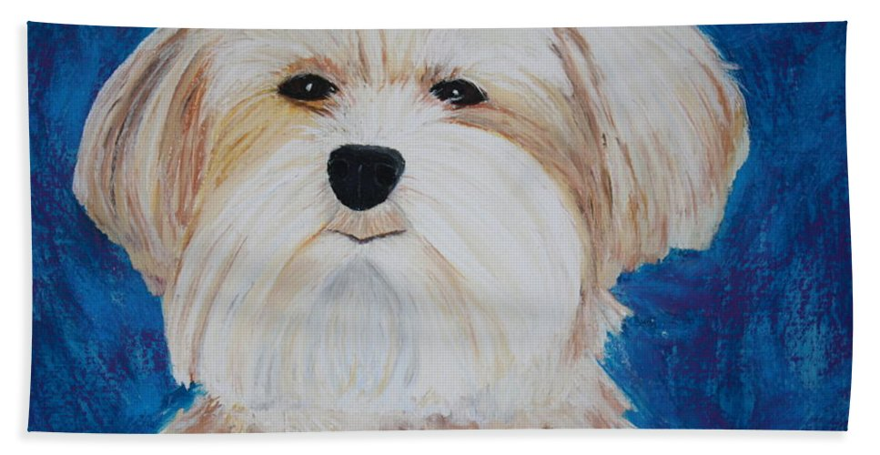 Dog Hand Towel featuring the painting Maggie by Melinda Etzold