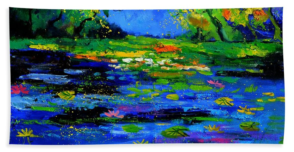 Landscape Hand Towel featuring the painting Magic pond 765170 by Pol Ledent