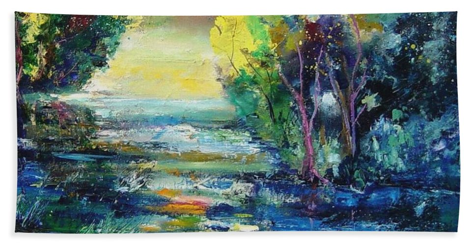 Pond Hand Towel featuring the painting Magic Pond by Pol Ledent
