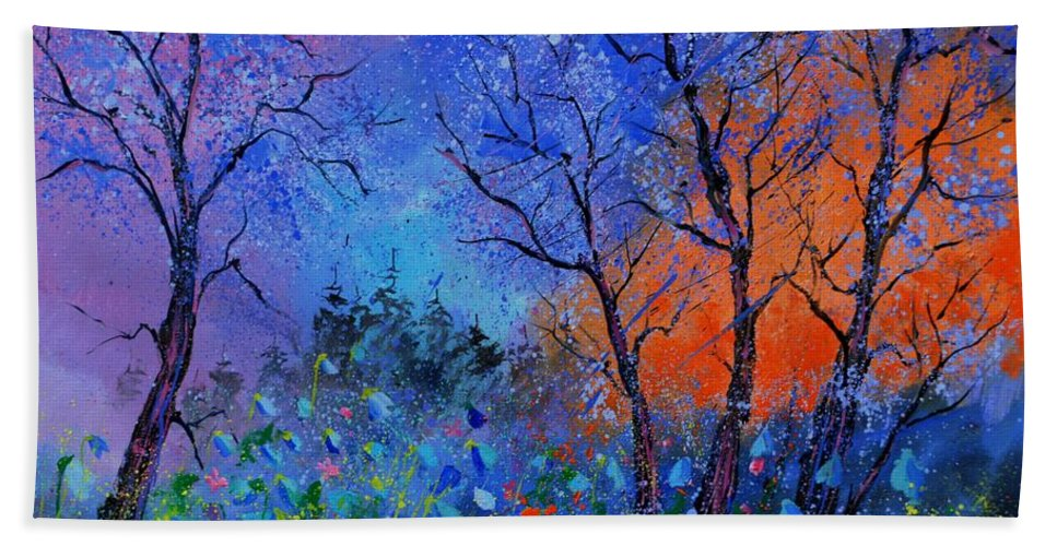 Landscape Bath Towel featuring the painting Magic wood by Pol Ledent