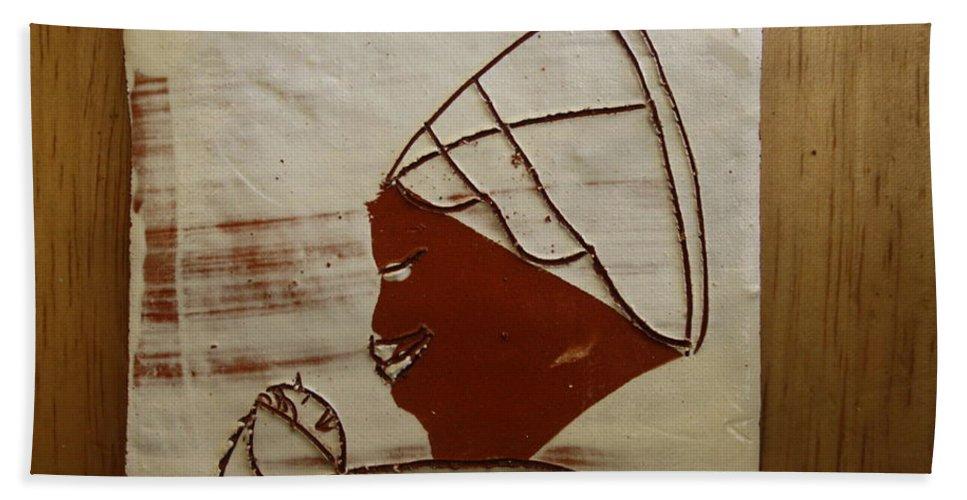 Jesus Bath Sheet featuring the ceramic art Mama 6 - Tile by Gloria Ssali