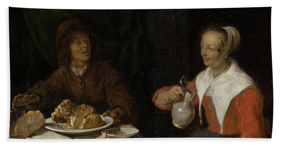 Baroque Hand Towel featuring the painting Man And Woman At A Meal by Gabriel Metsu