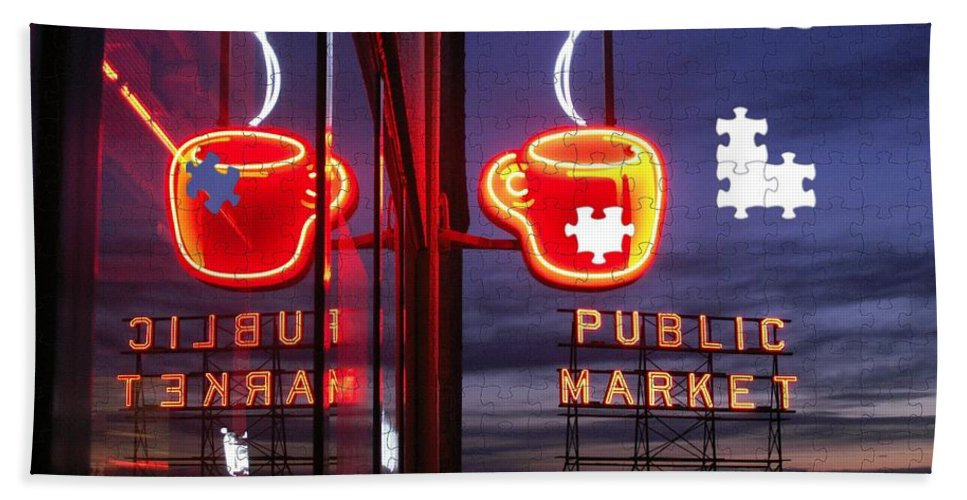 Seattle Bath Towel featuring the photograph Market Cup by Tim Allen