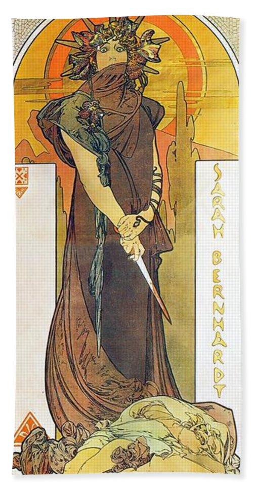 Alphonse Mucha Hand Towel featuring the painting Medea by Alphonse Mucha