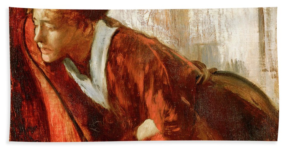 Women Hand Towel featuring the painting Melancholy by Edgar Degas