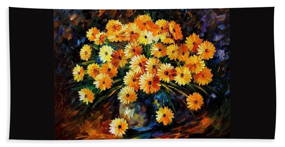 Afremov Hand Towel featuring the painting Melody Of Beauty by Leonid Afremov