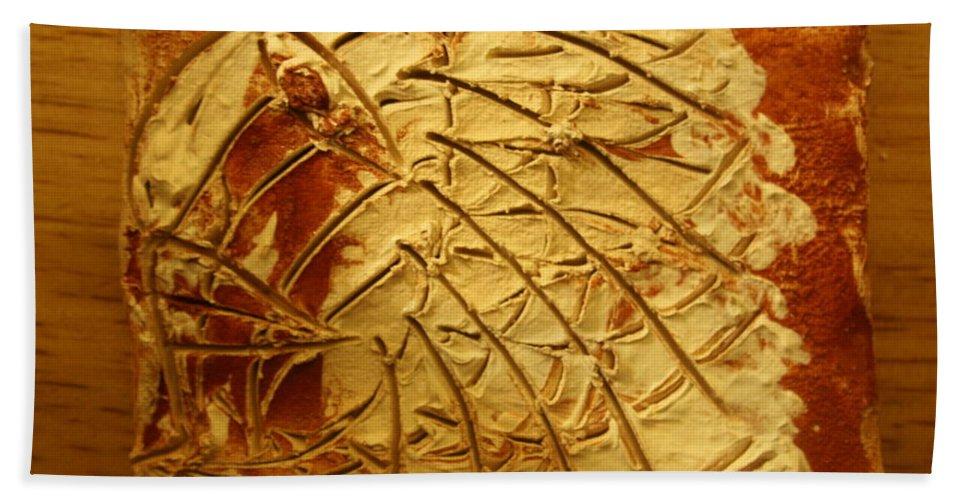 Jesus Bath Sheet featuring the ceramic art Mercy - Tile by Gloria Ssali