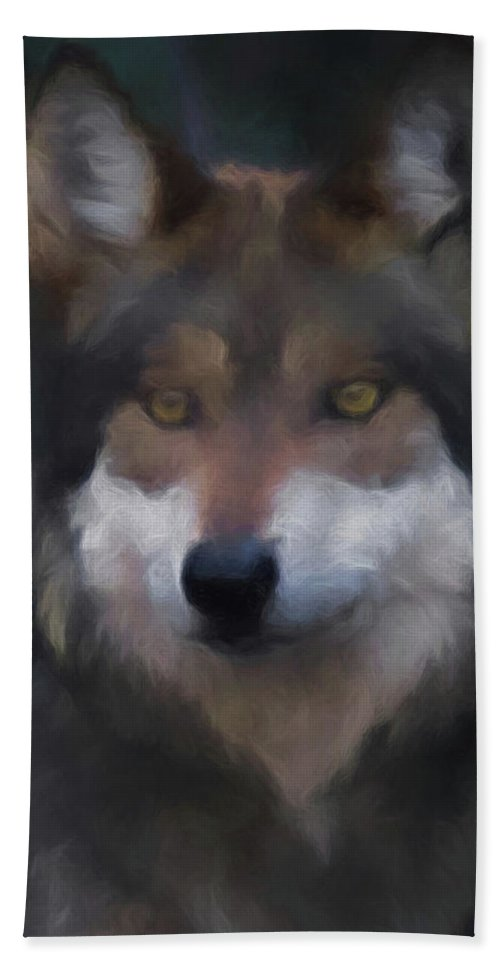 Wolf Bath Sheet featuring the digital art Mexican Grey Wolf Da by Ernie Echols