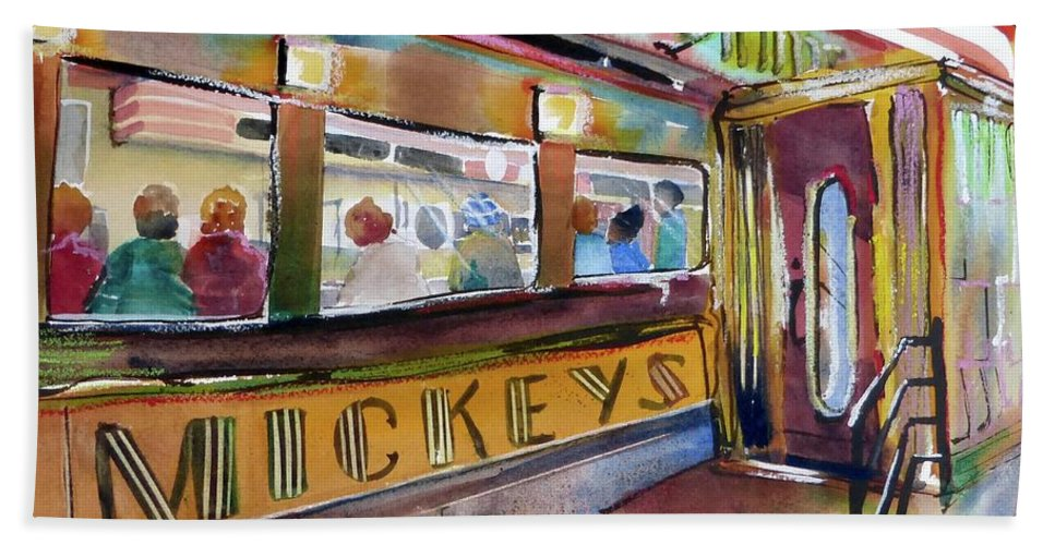 Diner Bath Sheet featuring the painting Mickey's by Lucy Lemay