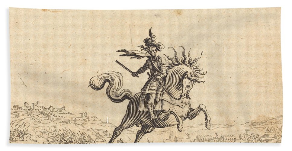 Hand Towel featuring the drawing Military Commander On Horseback by Jacques Callot