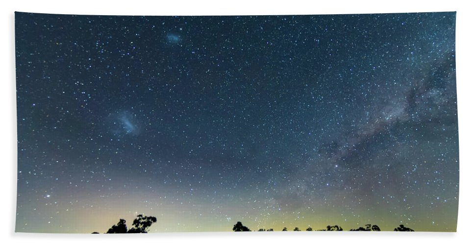 Astro Bath Towel featuring the photograph Milky Way And Countryside by Merrillie Redden