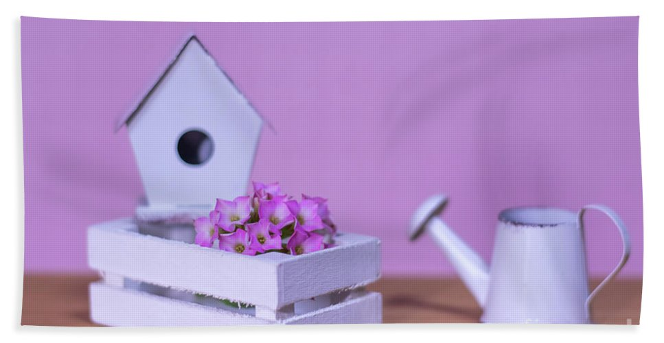 Background Hand Towel featuring the photograph Miniature Gardening Kit With Pink Background by Eiko Tsuchiya