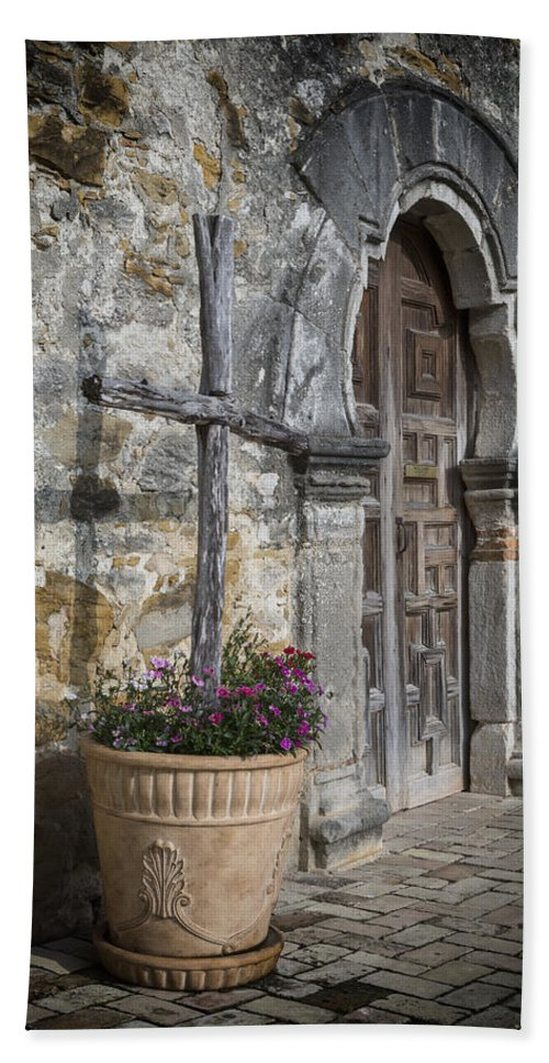 San Antonio Hand Towel featuring the photograph Mission Espada Cross by Stephen Stookey