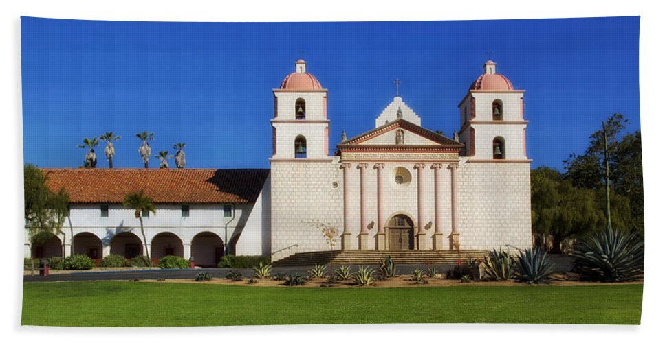 Mission Santa Barbara Bath Towel featuring the photograph Mission Santa Barbara by Mountain Dreams