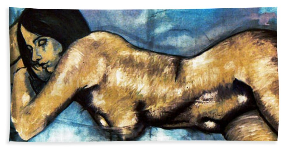 Nude Bath Towel featuring the painting Missy by Thomas Valentine