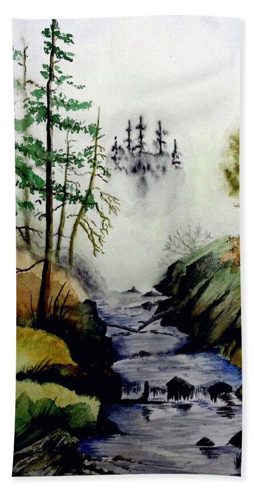 Creek Bath Sheet featuring the painting Misty Creek by Jimmy Smith