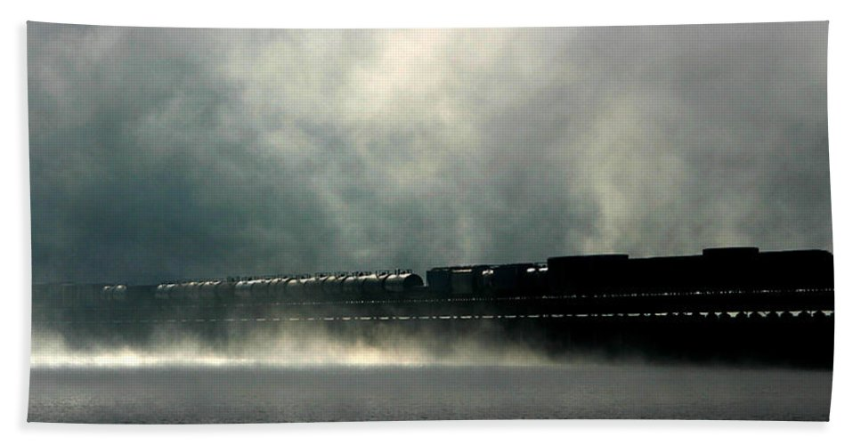 Train Bath Sheet featuring the photograph Misty Crossing by Marie-Dominique Verdier