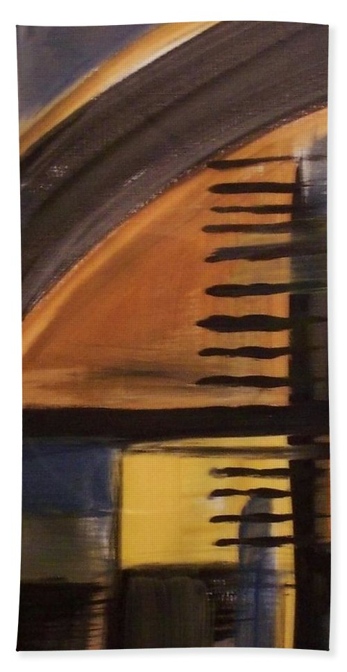 Abstract Hand Towel featuring the painting Modern Architecture 1 by Anita Burgermeister