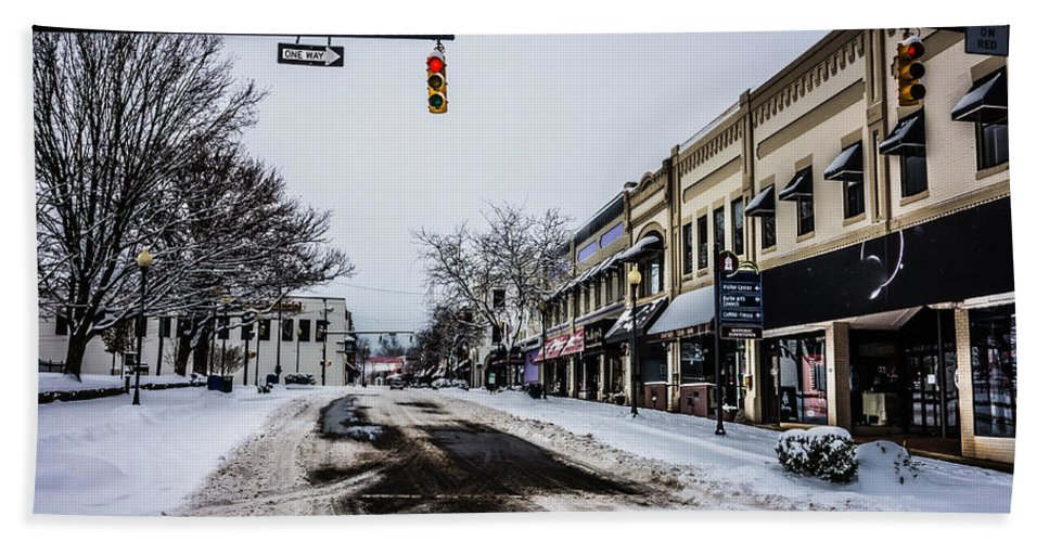 Moresville Bath Sheet featuring the photograph Moresville North Carolina Streets Covered In Snow by Alex Grichenko
