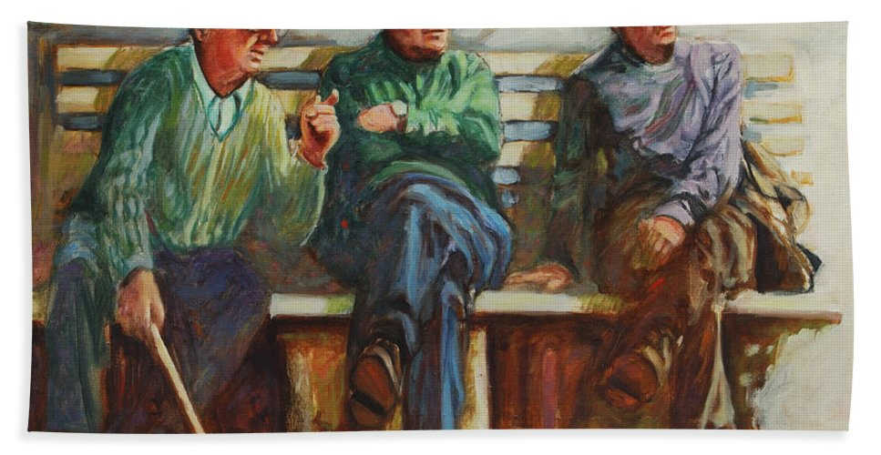 Cafe Bath Towel featuring the painting Morning Chat by Rick Nederlof