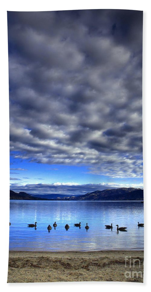 Clouds Bath Sheet featuring the photograph Morning Light On Okanagan Lake by Tara Turner