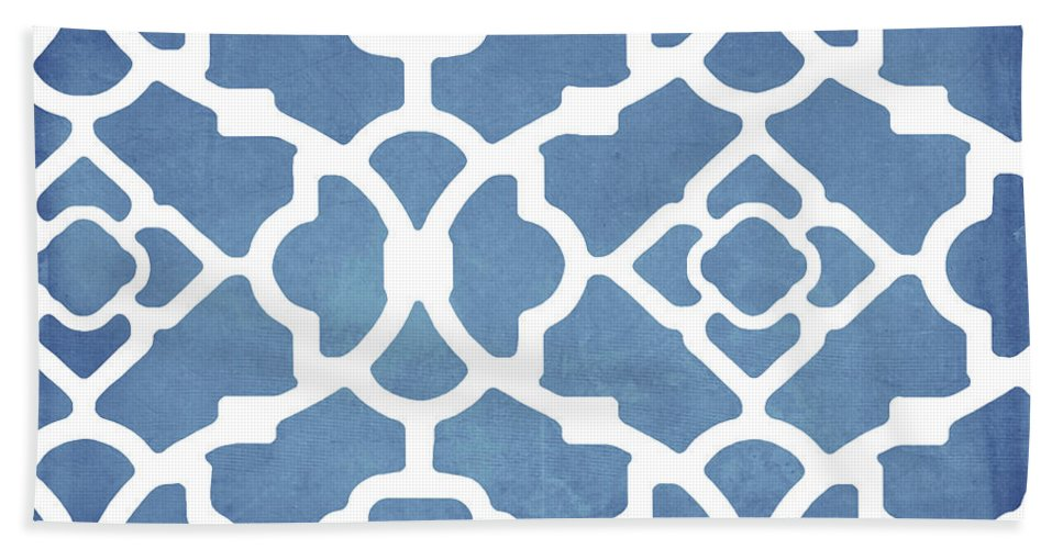 Blue Pattern Bath Towel featuring the painting Moroccan Blues by Mindy Sommers