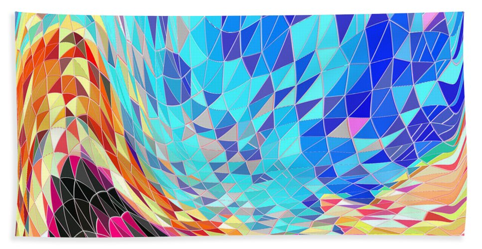 Abstract Bath Sheet featuring the digital art Mosaic #2 by Iris Gelbart