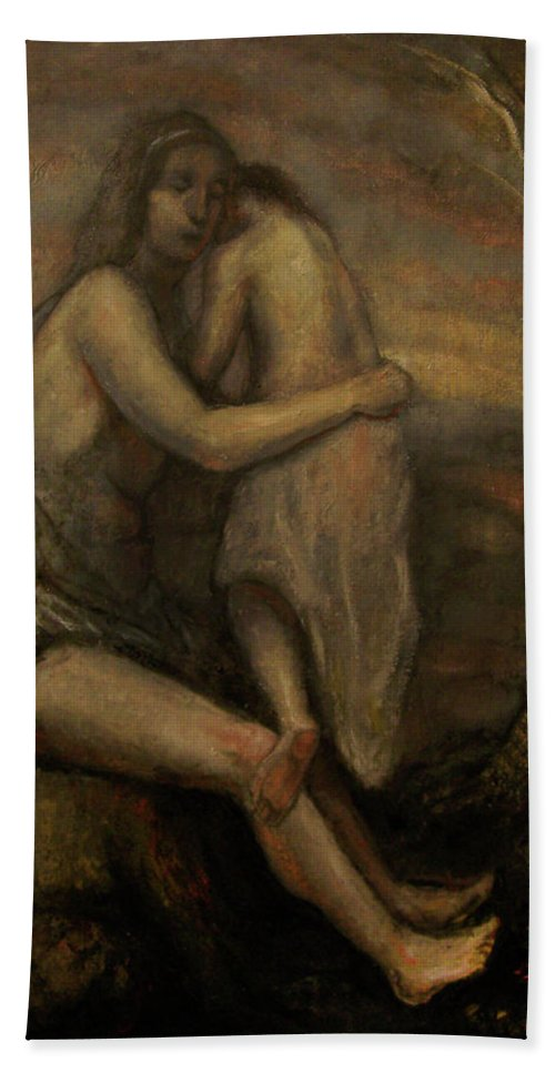 Rembrandt Mother Child Jesus Mary Madonna Nerdrum Old Master Hand Towel featuring the painting Mother And Child by Derek Van Derven