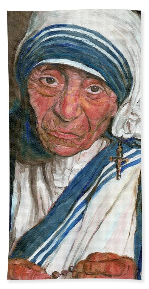Mother Teresa Hand Towel featuring the painting Mother Teresa by Carole Spandau