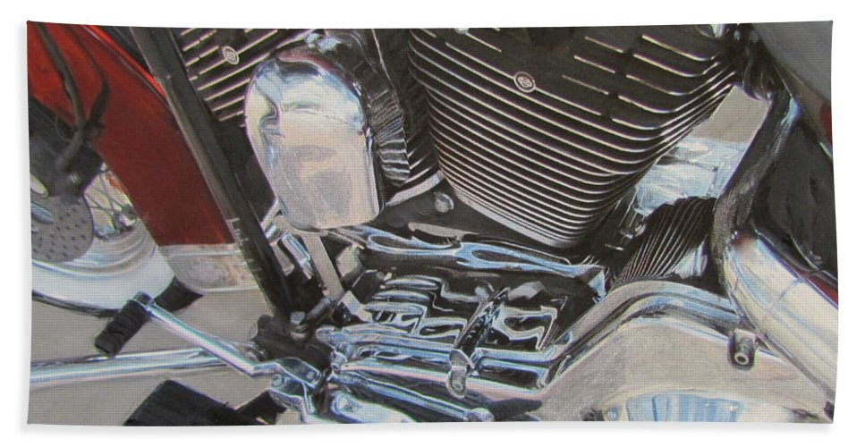 Hand Towel featuring the mixed media Motorcycle Close Up 1 by Anita Burgermeister