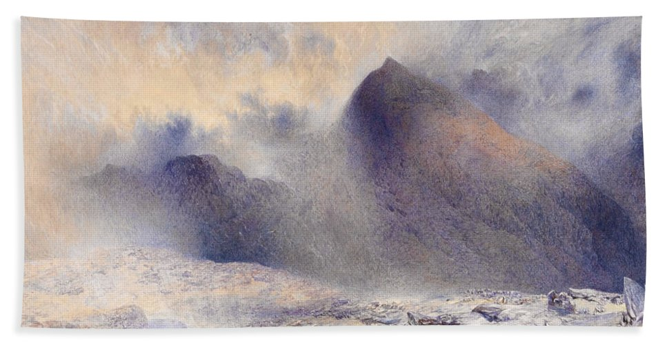 Alfred William Hunt Bath Sheet featuring the drawing Mount Snowdon Through Clearing Clouds by Alfred William Hunt