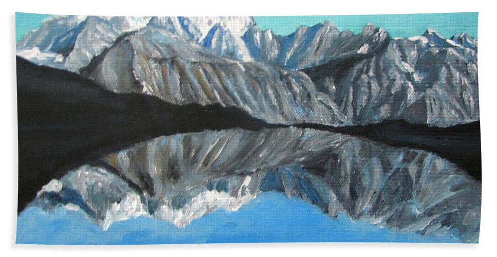 Smoky Mountains Bath Towel featuring the painting Mountains Landscape Acrylic Painting by Natalja Picugina