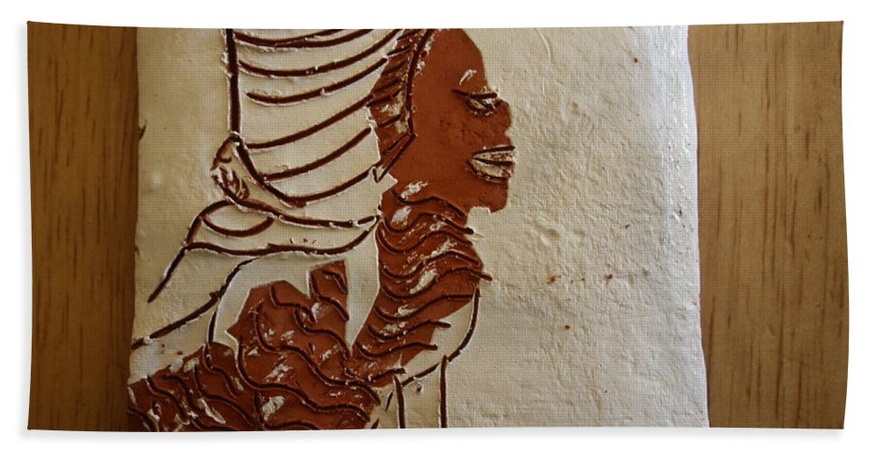 Jesus Hand Towel featuring the ceramic art Mums Here - Tile by Gloria Ssali