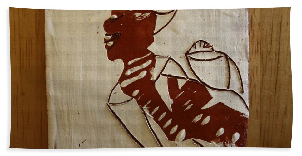 Jesus Bath Sheet featuring the ceramic art Mums Love - Tile by Gloria Ssali