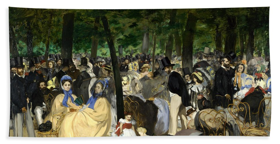 Arts Hand Towel featuring the painting Music In The Tuileries by Edouard Manet