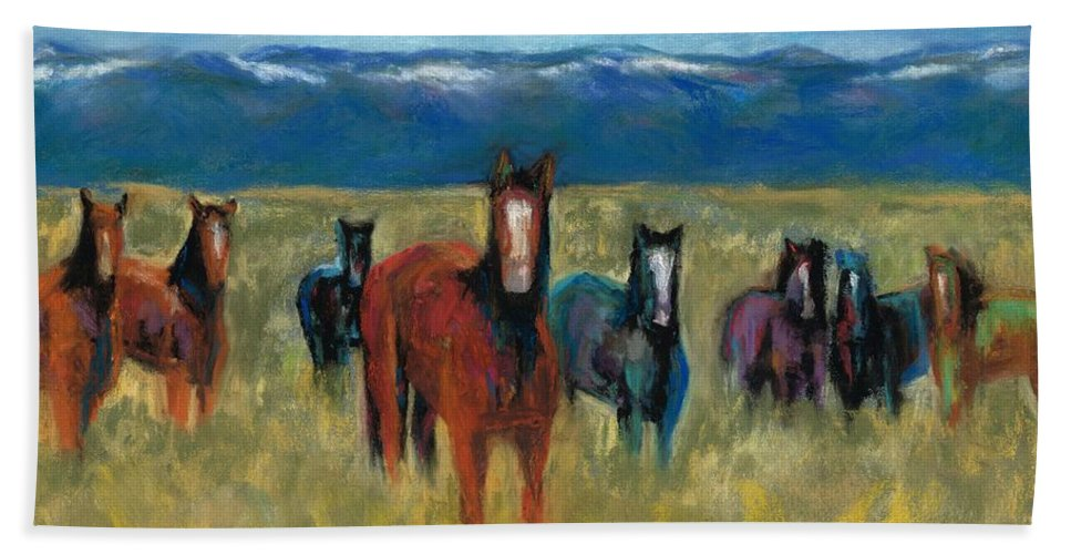 Mustangs Bath Sheet featuring the painting Mustangs In Southern Colorado by Frances Marino