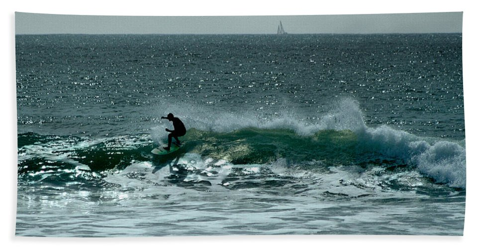 Ventura Bath Sheet featuring the photograph My Wave by Michael Gordon