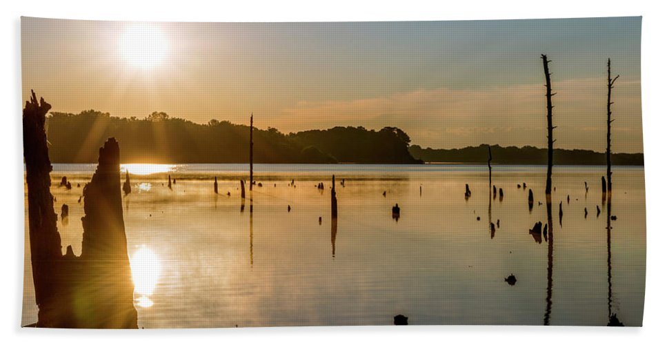 Lake Bath Sheet featuring the photograph Mystical Sunrise On The Lake by Tetyana Ohare