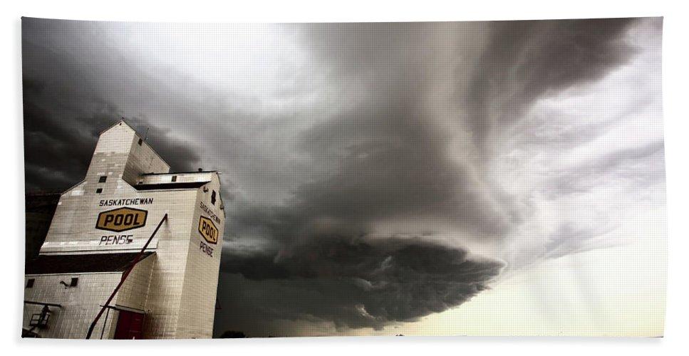 Grain Elevator Hand Towel featuring the digital art Nasty Looking Cumulonimbus Cloud Behind Grain Elevator by Mark Duffy