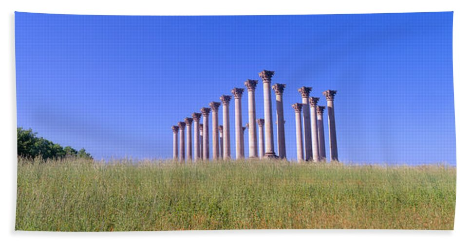 Photography Bath Sheet featuring the photograph National Capitol Columns, National by Panoramic Images