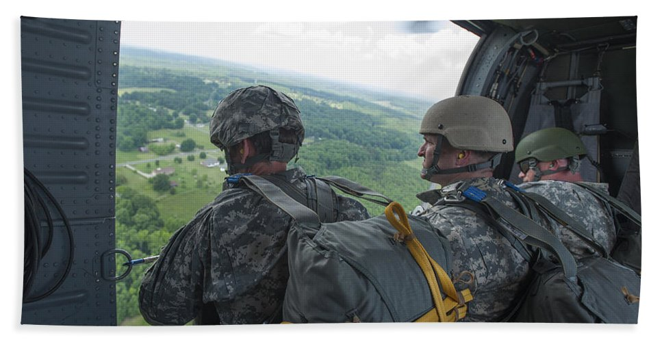 North Carolina National Guard Bath Sheet featuring the photograph National Guard Special Forces Await by Stocktrek Images