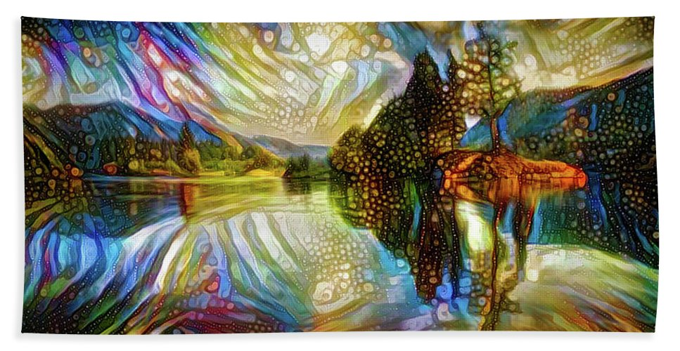 Landscape Bath Sheet featuring the mixed media Nature Reflections by Lilia D
